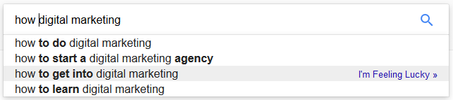 using google's autosuggest to look for 'how digital marketing'