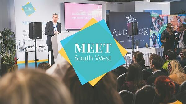 Photo of Meet South West with the logo in the centre of the image