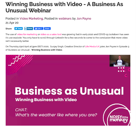 Business as Unusual webinar blog post