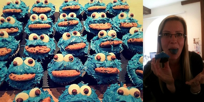 Sophie devouring Tash's signature cookie monster cupcakes
