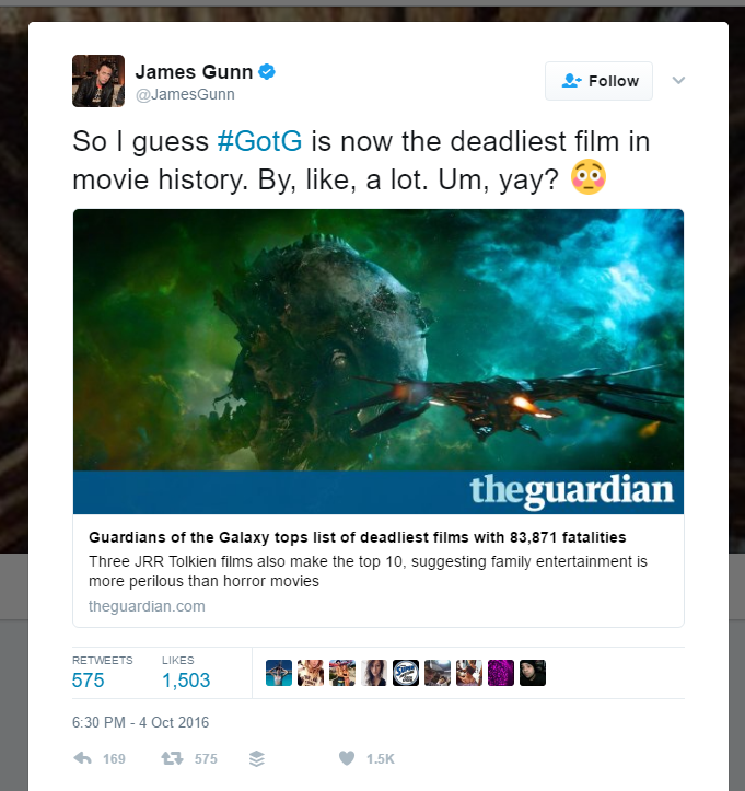Tweet about the GOTG campaign posted by the director himself!