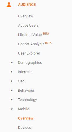 Google Analytics sidebar menu Audience Mobile