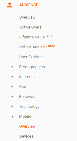 Google Analytics sidebar menu Audience Mobile