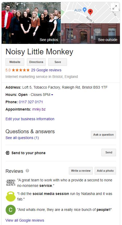 Noisy Little Monkey's Google My Business profile