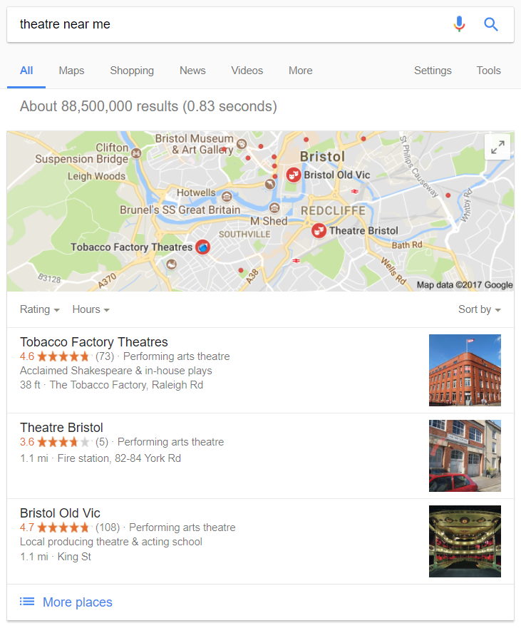 Screenshot of the Google 3 Pack in search results