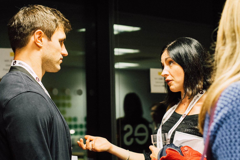 Attendees chatting at Bath Digital Festival