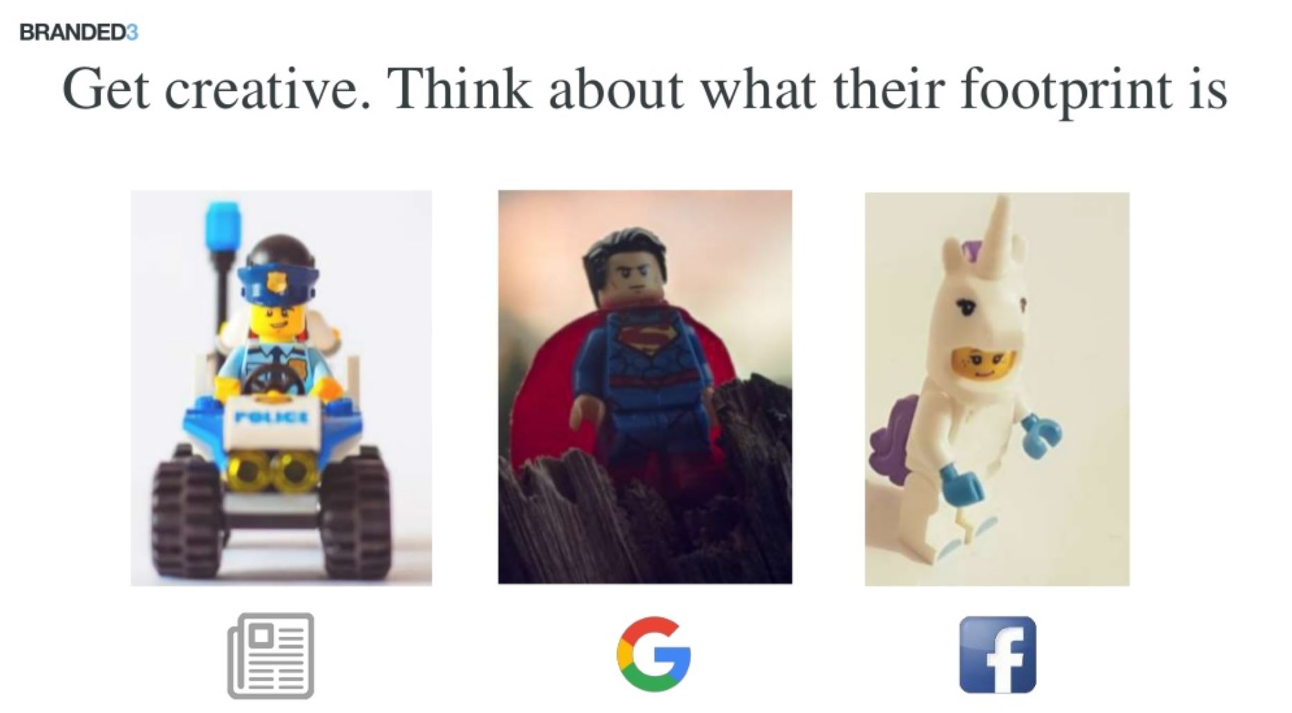 Image of lego figures with social network logos underneath indiciating where they might hang out online