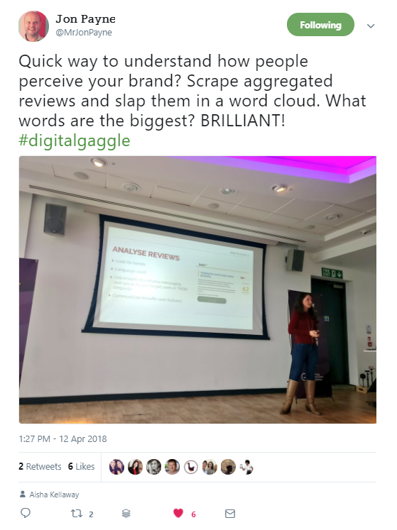 "Jon Payne's tweet about Skippy's talk which says ""Scrape aggregated reviews and slap them in a word cloud. What words are the biggest? BRILLIANT!"""