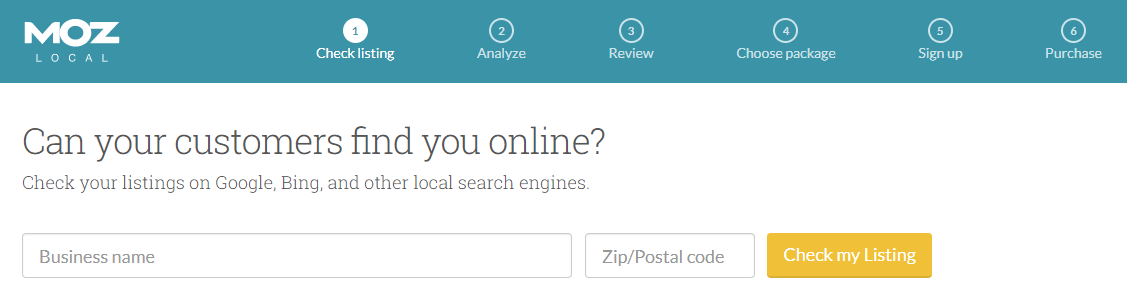 Screenshot to show the homepage of Moz Local
