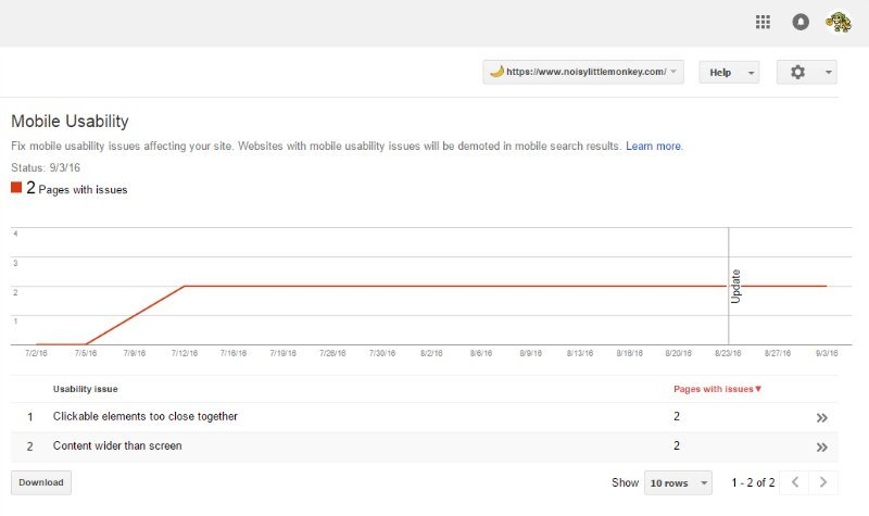 Mobile usability issues search console screenshot