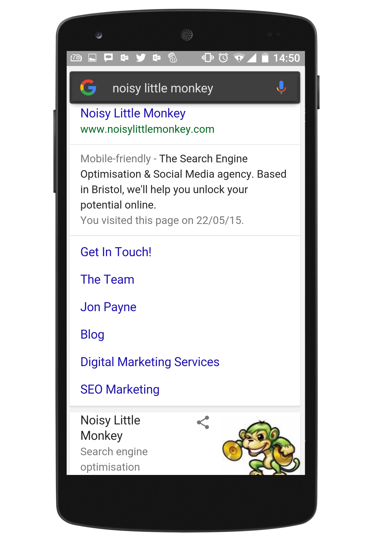 Mobile Search Result Example