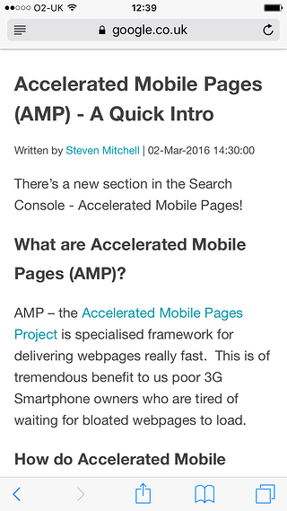 Example of a Noisy Little Monkey web page with AMP enabled