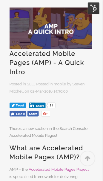 Screenshot of a Noisy Little Monkey blog post viewed on mobile, without AMP enabled