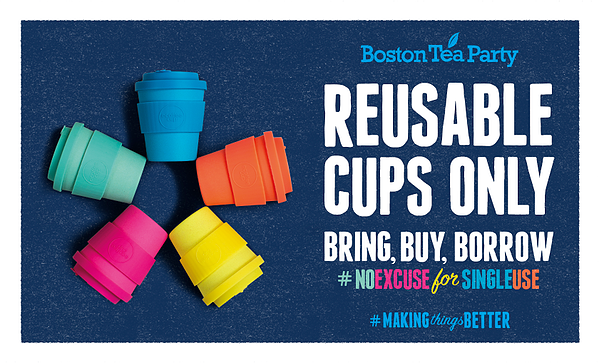 Imagery from Boston Tea Party's No Excuse for Single Use campaign