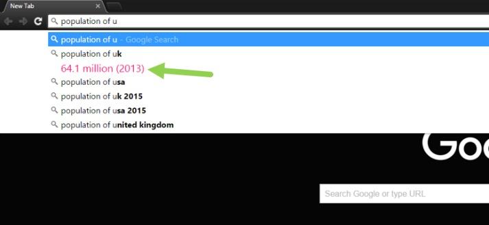 Google Answer in Chrome URL bar