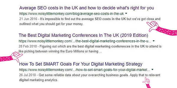 Examples of meta descriptions on Noisy Little Monkey's pages on the SERP