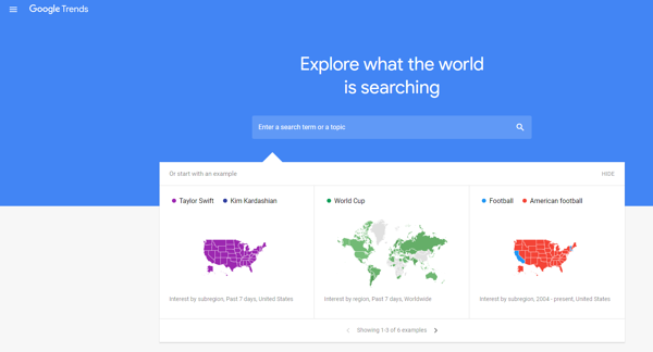 A screenshot of the Google Trends website