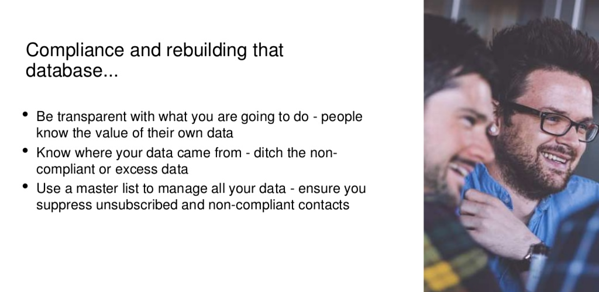 Compliance and rebuilding that database... - an excerpt from Stafford Sumner's slides