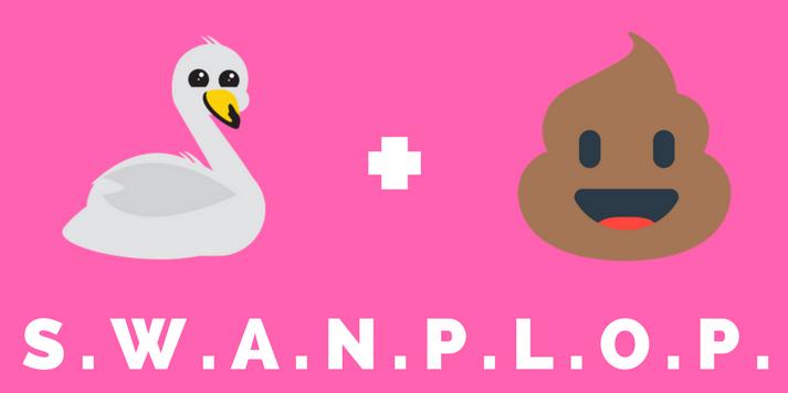 A swan emoji and poo emoji to illustrate the acronym SWANPLOP