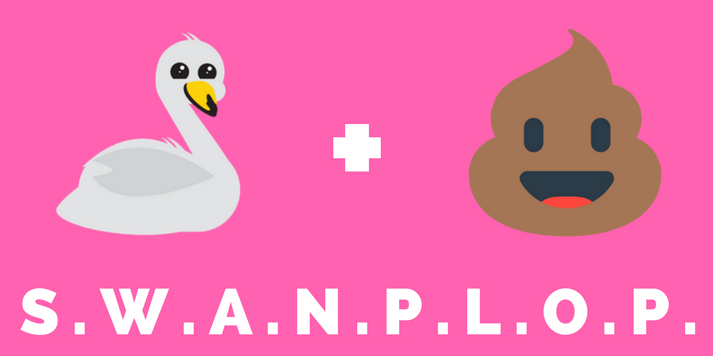 A swan emoji and poo emoji to illustrate the acronym SWANPLOP