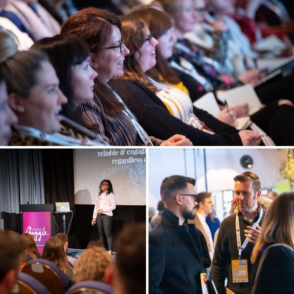 a collage of photos from the last Digital Gaggle conference