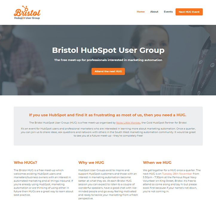 An example of the Bristol HubSpot User Group website