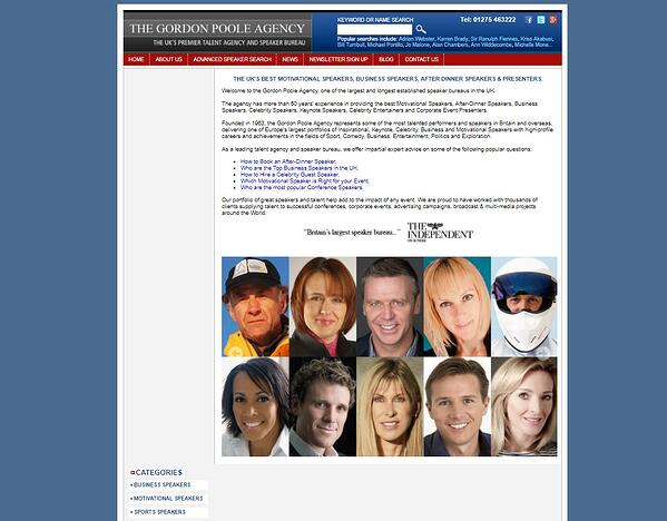 Before photo of the Gordon Poole website before redesign