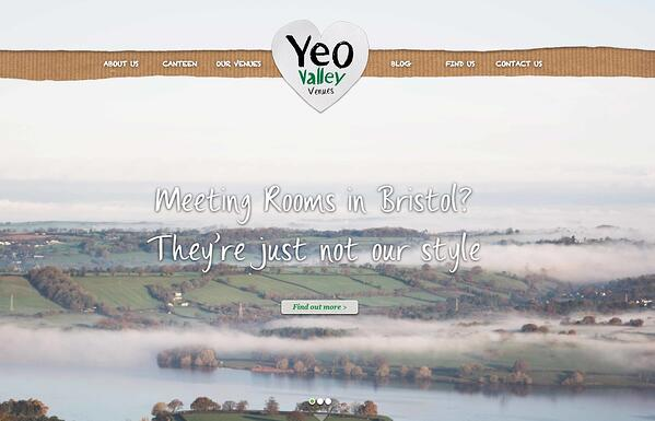 Screenshot of the Yeo Valley Venues website