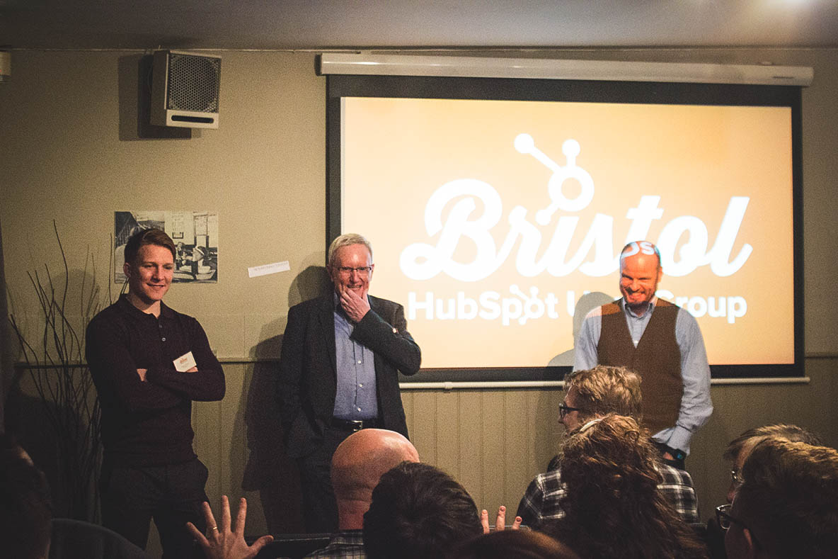 Photo of speakers talking at the Bristol HubSpot User Group