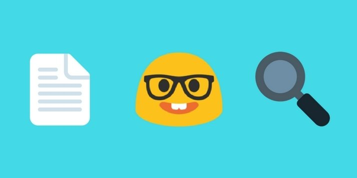 A page emoji, nerd face emoji and a magnifying glass