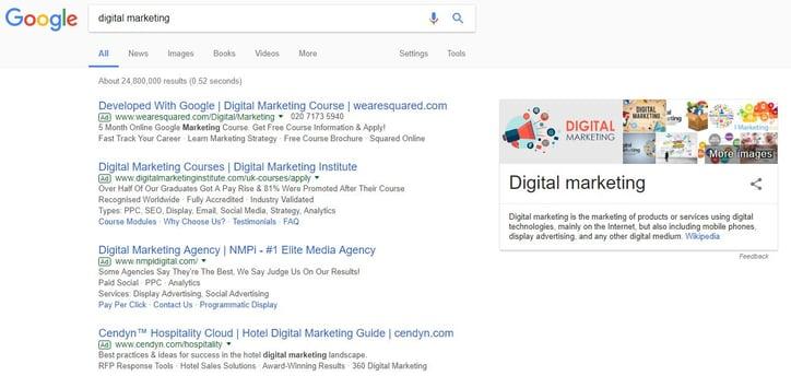 Screenshot of 'Digital Marketing' search on Google