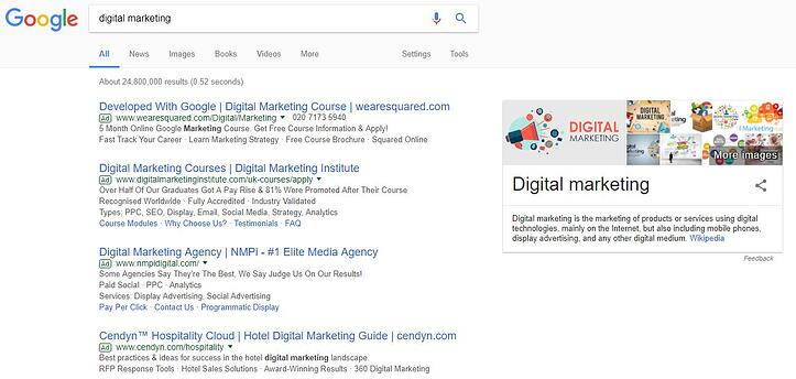 Screenshot of 'Digital Marketing' search on Google