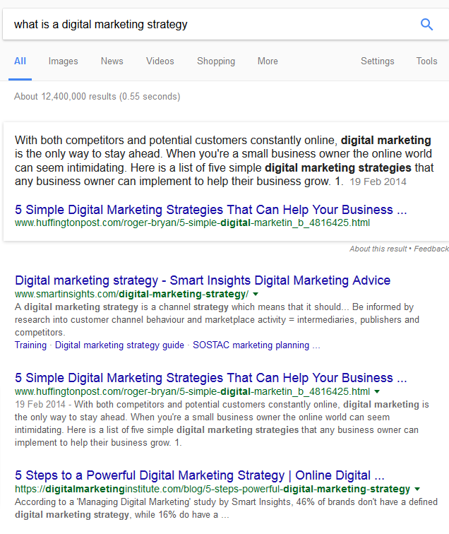 serp for 'what is a digital marketing strategy'