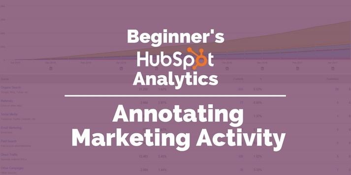 Beginners' HubSpot Analytics - Annotating Marketing Activity